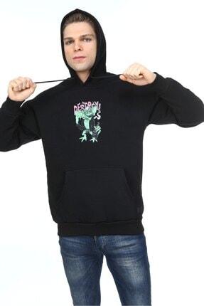 Millionaire Erkek Siyah Oversize Destroy Baskılı Sweatshirt 3