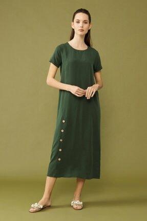 adL Kadın Yeşil Yırtmaçlı Elbise 0