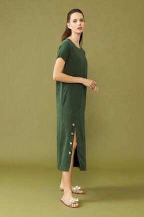 adL Kadın Yeşil Yırtmaçlı Elbise 2