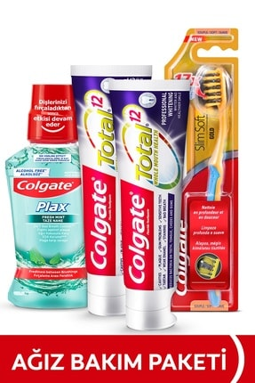 Colgate Ağız Bakım Paketi Total Profesyonel Beyazlık Beyazlatıcı Diş Macunu,Yumuşak Diş Fırçası ve Gargara 0