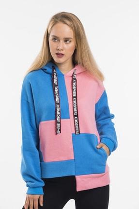 RAYZ Kadın Mavi Pembe Parçalı Kapüşonlu Oversize Sweatshirt 2