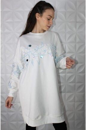 Loreen Kadın Beyaz Nakış Detay Sweatshirt 0