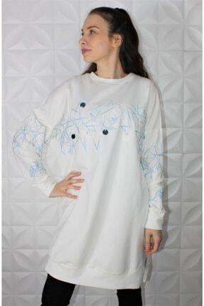 Loreen Kadın Beyaz Nakış Detay Sweatshirt 1