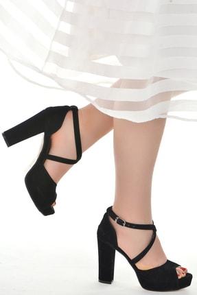 Ayakland Kadın Siyah Süet Abiye  Platform Topuk Ayakkabı 11 cm 3210-2058 1