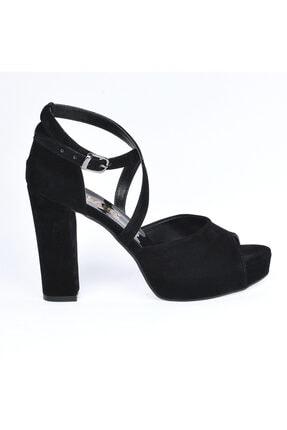 Ayakland Kadın Siyah Süet Abiye  Platform Topuk Ayakkabı 11 cm 3210-2058 2