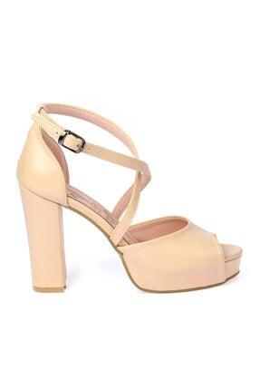 Ayakland Kadın Ten Cilt Abiye 11 cm Platform Topuk Ayakkabı 3210-2058 2