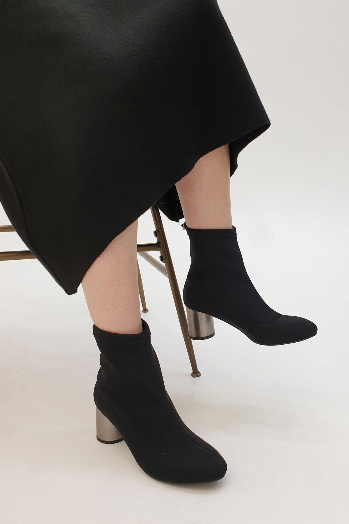 Marjin Confila Kadın Streç Topuklu BotSiyah 3