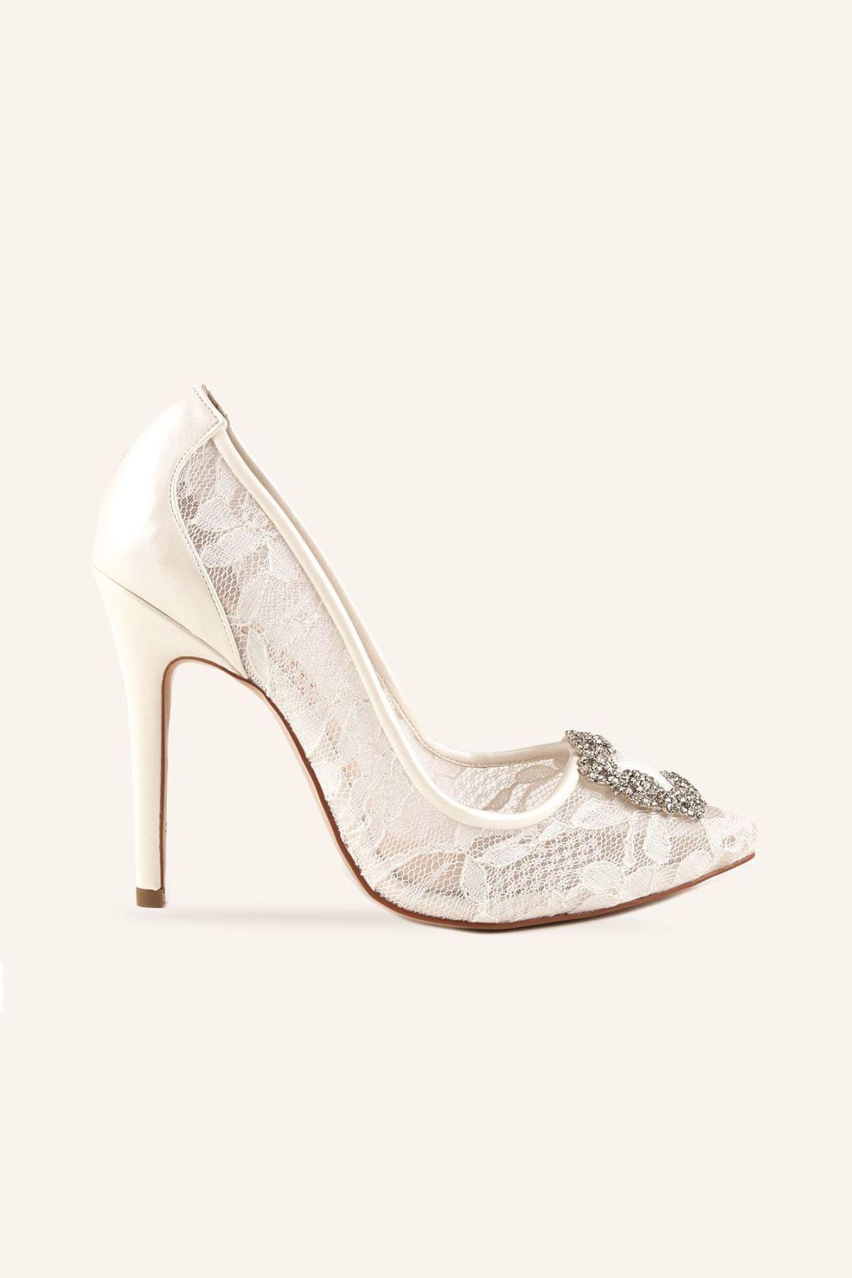 MARCATELLI Kadın Beyaz Dantel Dantel Tokalı Yüksek Gelin Ayakkabısı