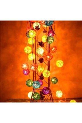 Evene Dekoratif Led Işıklı Rengarenk Bambu Toplar 3 Metre Rattan Top Işık 1