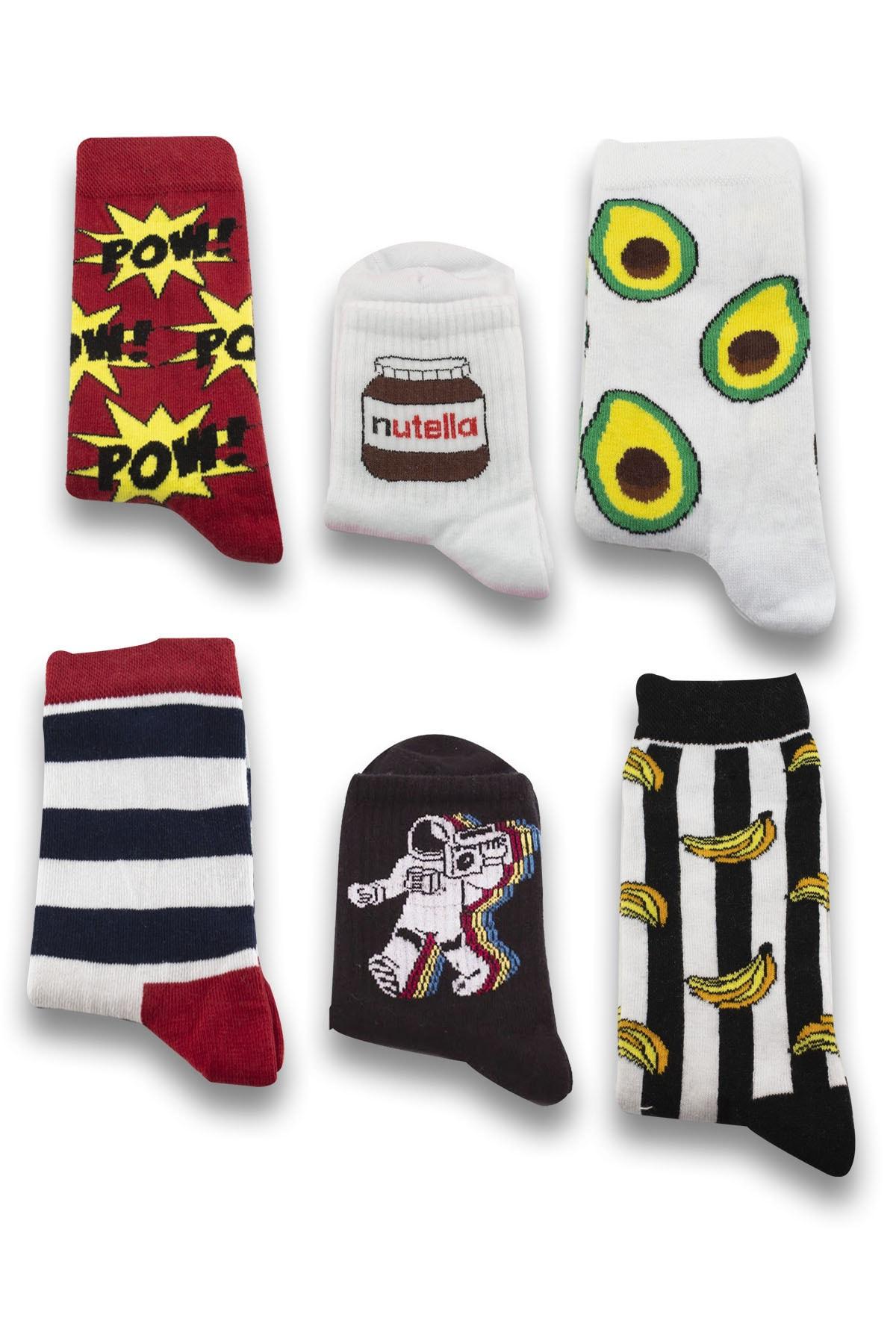 Socksarmy Unisex Pow  Avokado  Muz Desenli 6 Lı Ahşap Kutu Çorap Seti