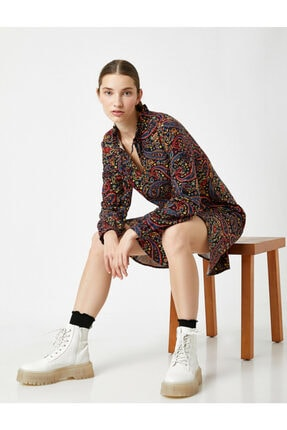 %100 Pamuk Uzun Kollu Sal Desenli Elbise 1KAL88036OW