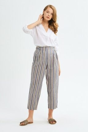 adL Kadın Camel Pileli Keten Pantolon 0