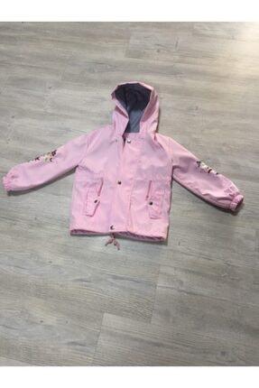 Kız Çocuk Toz Pembe Ceket Kolu Baskılı Ceket