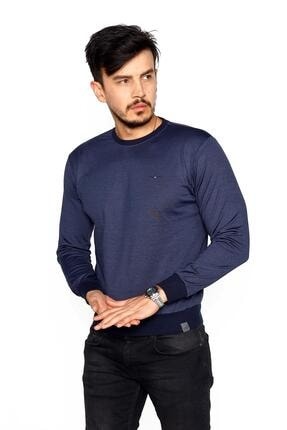BESSA Erkek Indigo Bisiklet Yaka Mikro Polyester Likralı  Sweatshirt 3