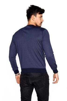 BESSA Erkek Indigo Bisiklet Yaka Mikro Polyester Likralı  Sweatshirt 4