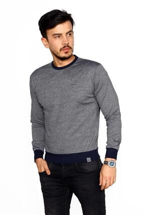 BESSA Erkek Gri Lacivert Bisiklet Yaka Mikro Polyester Likralı Sweatshirt 0