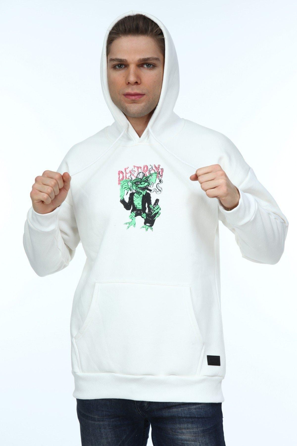 Millionaire Erkek Ekru Oversize Destroy Baskılı Sweatshirt