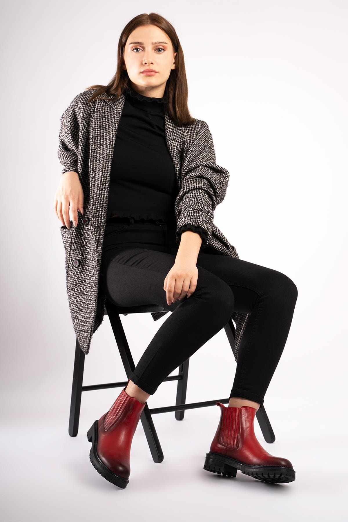 CZ London Kadın Kırmızı Hakiki Deri Yanı Lastikli Rahat Kauçuk Taban Chelsea Bot