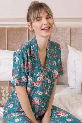 Lohusa Sepeti Kadın Yeşil Giardino Önden Düğmeli Pijama Takımı 1