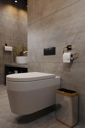 Bino Gold Paslanmaz Çelik Wc Kağıtlık Tuvalet Kağıtlığı Tuvalet Kağıdı Askısı Yapışkanlı Tasarım 2