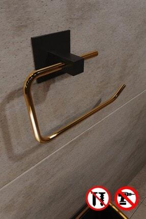 Bino Gold Paslanmaz Çelik Wc Kağıtlık Tuvalet Kağıtlığı Tuvalet Kağıdı Askısı Yapışkanlı Tasarım 4