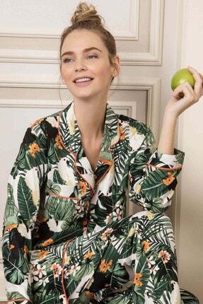 Lohusa Sepeti Kadın Yeşil Önden Düğmeli Pijama Takımı 1