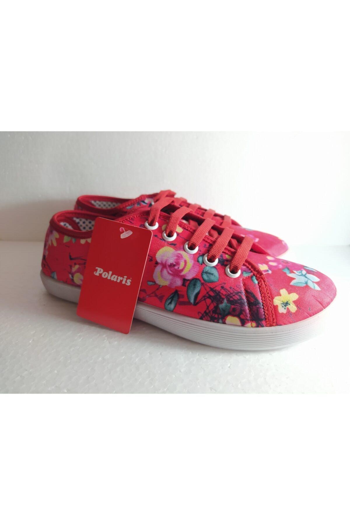 Polaris Kadın Pembe Çiçekli Günlük Kadın Ayakkabı