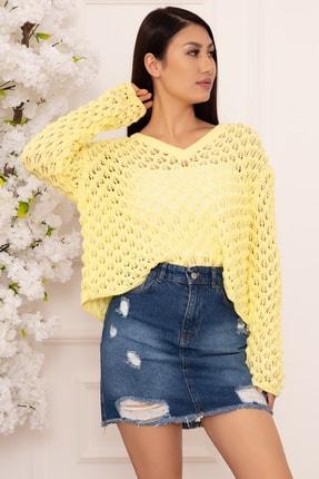 PULLIMM Kadın Sarı Delikli Örgü Triko Bluz 1326 0