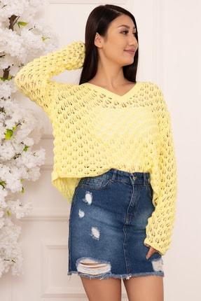 PULLIMM Kadın Sarı Delikli Örgü Triko Bluz 1326 3