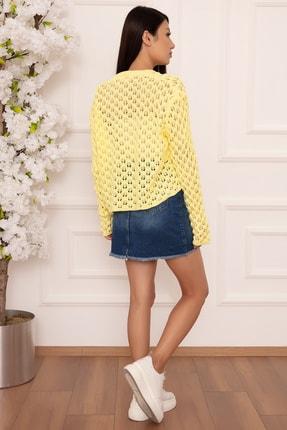 PULLIMM Kadın Sarı Delikli Örgü Triko Bluz 1326 4