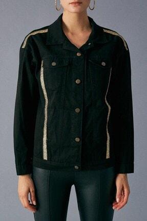 Robin Kadın Siyah Şerit Detaylı Jean Ceket 3