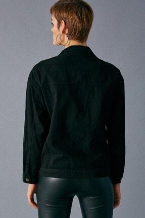 Robin Kadın Siyah Şerit Detaylı Jean Ceket 4