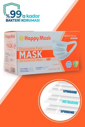 Happy Yumuşak Elastik Kulaklı 3 Katlı Telli Beyaz Cerrahi Maske 200 Lü 3