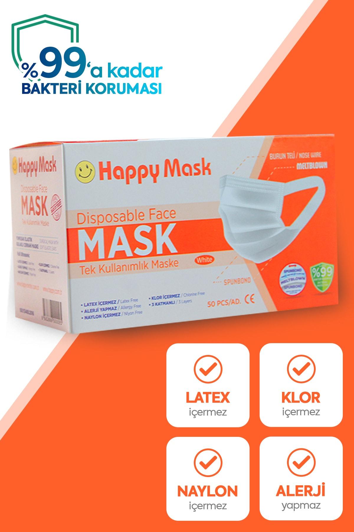 Happy Yumuşak Elastik Kulaklı 3 Katlı Telli Beyaz Cerrahi Maske 100 Lü