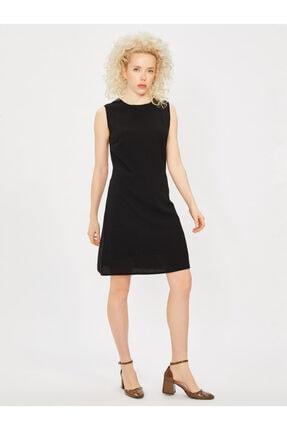 Vekem Kadın Siyah Kolsuz Klasik Kesim Krep Elbise 0