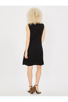 Vekem Kadın Siyah Kolsuz Klasik Kesim Krep Elbise 1