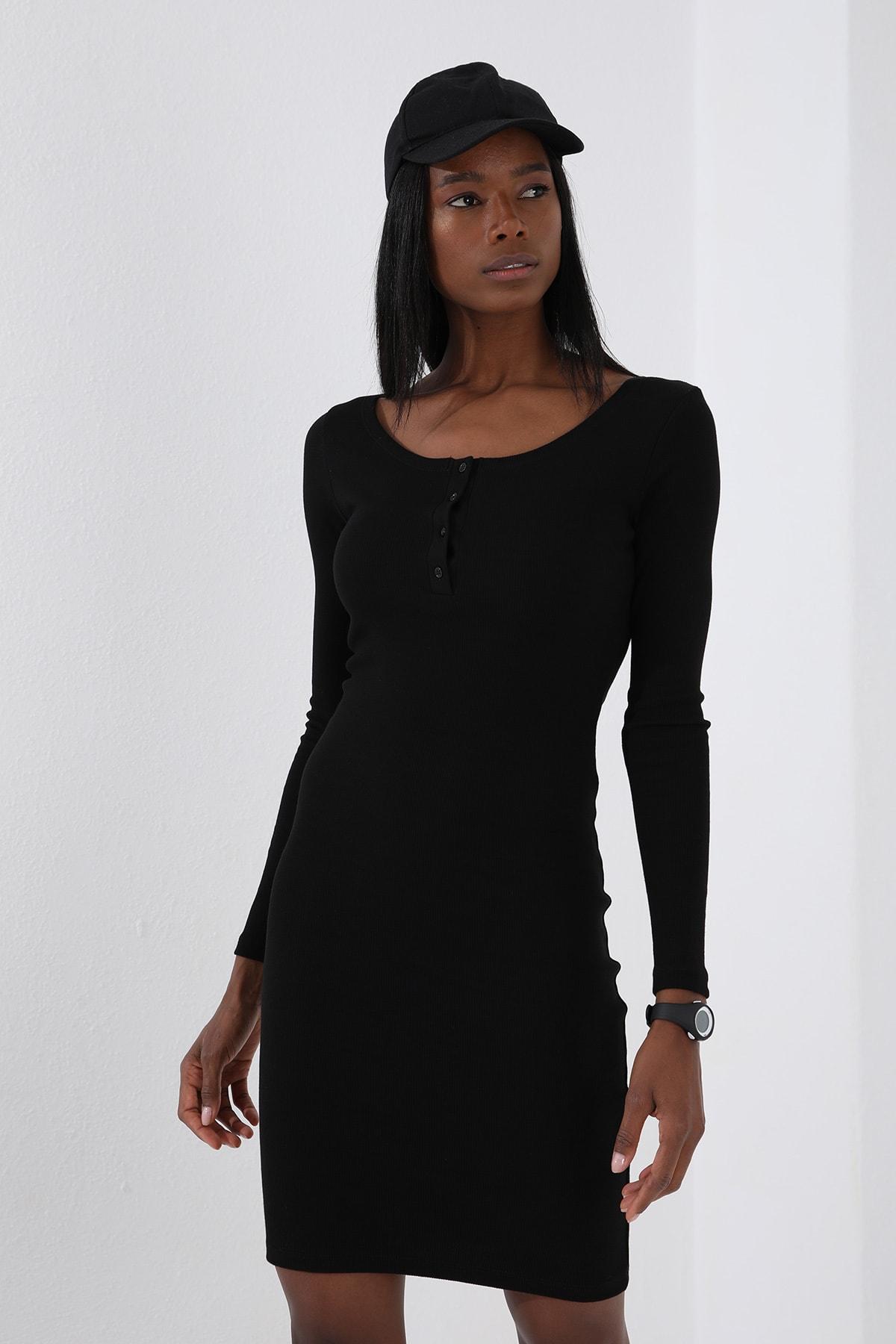 Tommy Life Patlı Yaka Detaylı  Siyah Kadın Kaşkorse Elbise 3