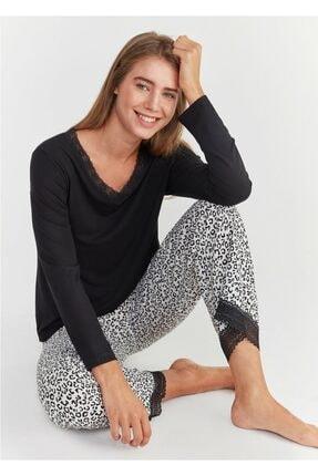 Suwen Kadın Leopar Baskılı Leo Pijama Takımı 0