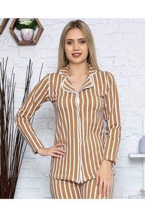 PİJABOOM Kadın Pijama Takımı Düğmeli Açık Kahve Rengi Çizgili Uzun Kol 0