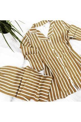 PİJABOOM Kadın Pijama Takımı Düğmeli A��ık Kahve Rengi Çizgili Uzun Kol 2