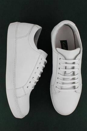 CZ London Erkek Beyaz Hakiki Deri Sneaker Spor Ayakkabı 0
