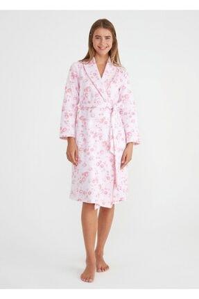 Suwen Kadın Pembe Camellia Uzun Sabahlık 1