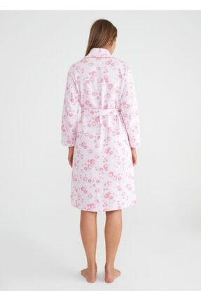 Suwen Kadın Pembe Camellia Uzun Sabahlık 2