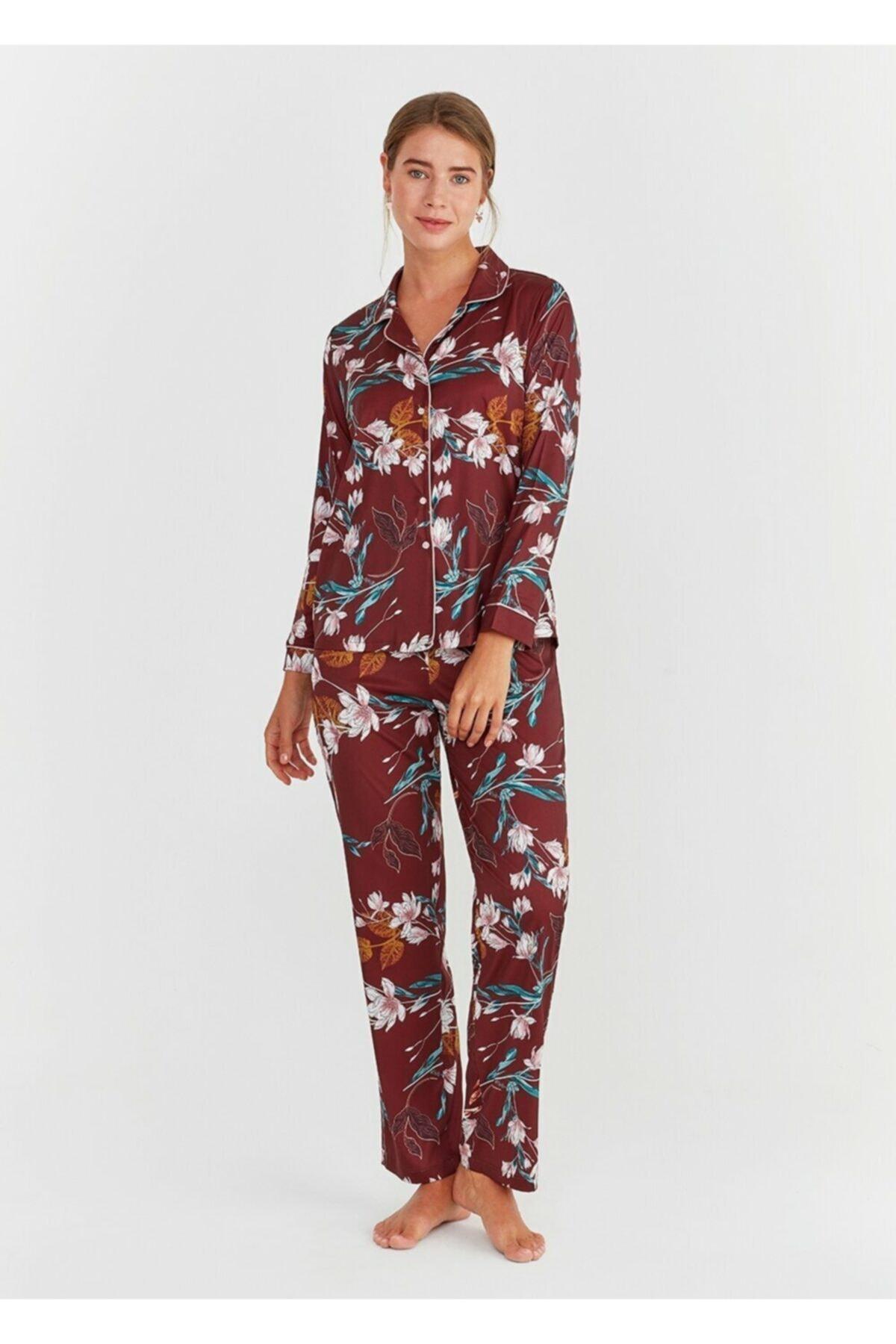 Kadın Bordo Elegance Maskulen Pijama Takımı