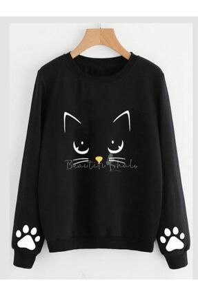 ELBİSENN Kadın Siyah Cat Iki Iplik Sweatshırt 0