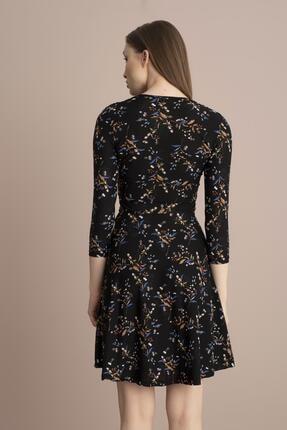 Tena Moda Kadın Siyah Örme Crep Kruvaze Elbise 3
