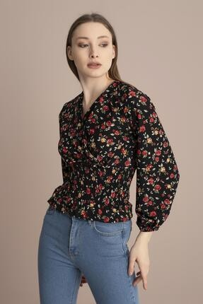 Tena Moda Kadın Siyah Çiçekli Örme Crep Gipeli Bluz 2
