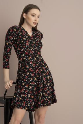Tena Moda Kadın Kırmızı Çiçekli Örme Crep Kruvaze Elbise 2