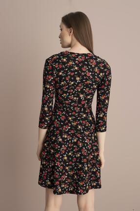 Tena Moda Kadın Kırmızı Çiçekli Örme Crep Kruvaze Elbise 3