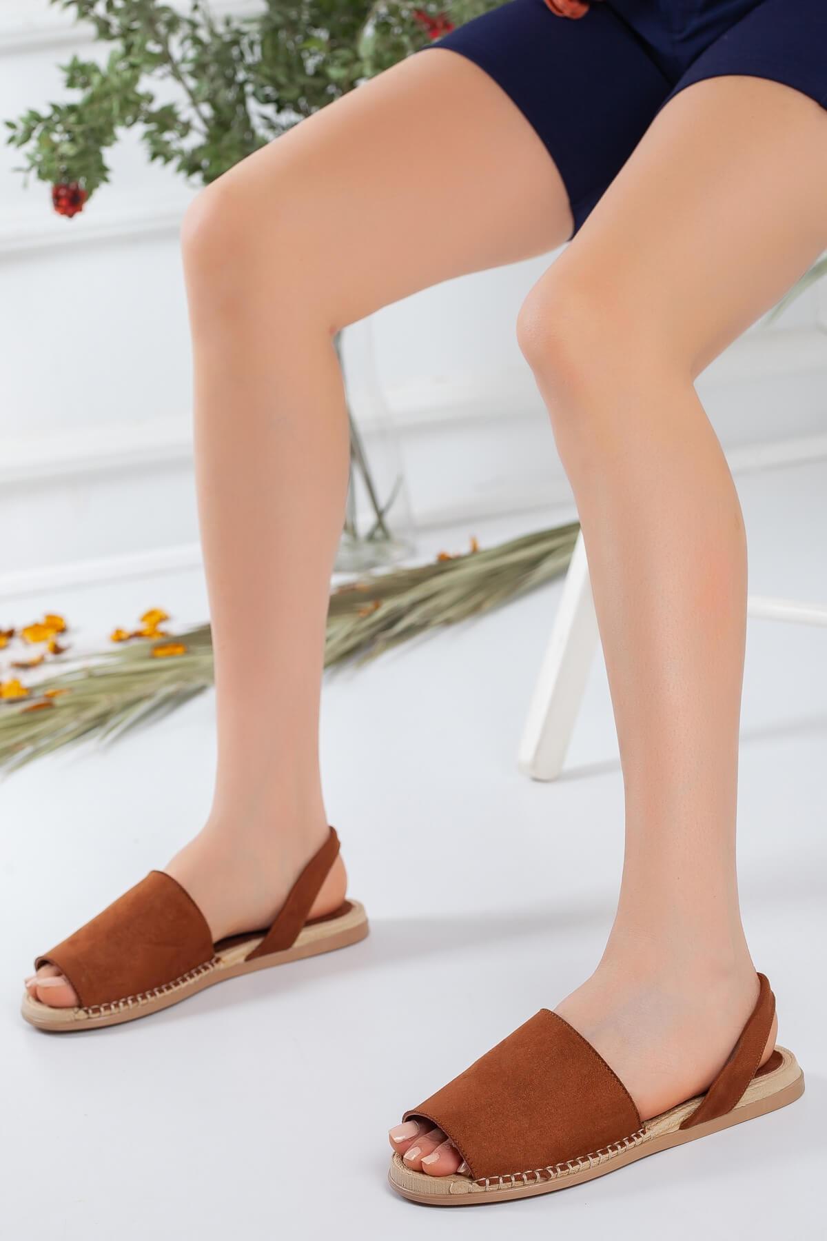 Bellinz Kadın Taba Süet Sandalet